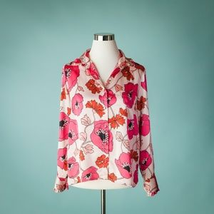 Kate Spade S Pink Floral Poppy Blouse